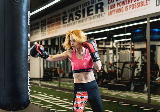 Noeleen boxing in the Strength Gym