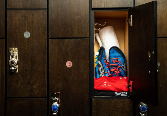 Athletic wear and shoes in a locker