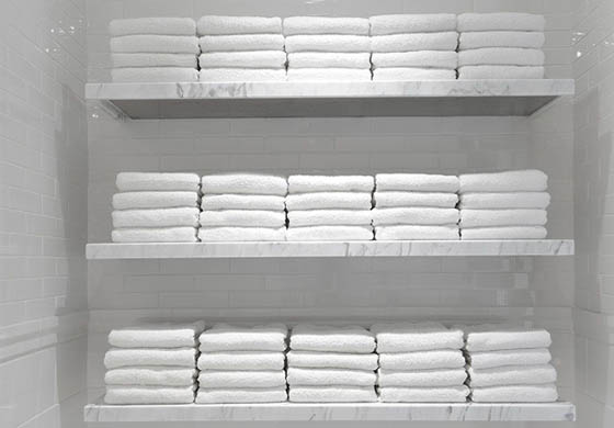 Towels stacked in the locker room